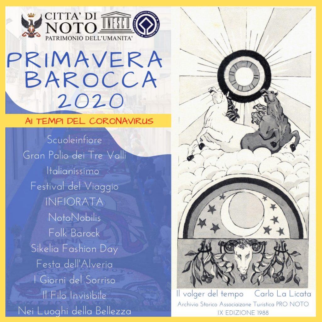 elenco degli eventi proposti a noto per la primavera barocca 2020