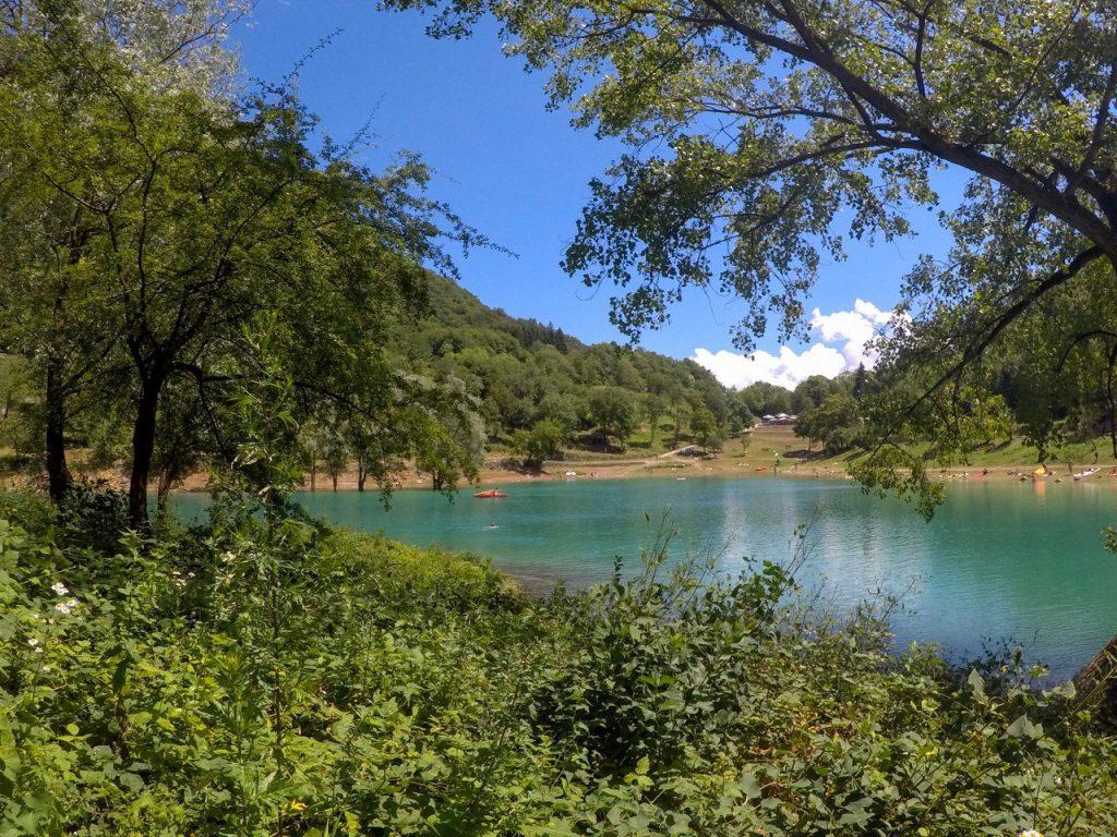 lago con vegetazione rigogliosa