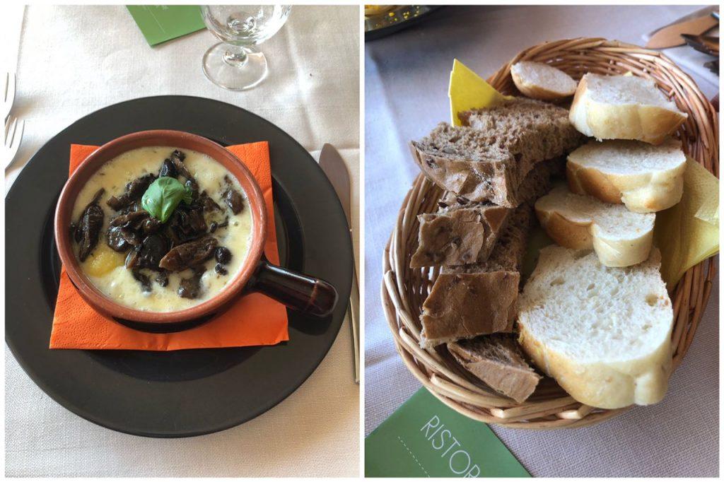 piatto di montagna con polenta formaggio funghi e pane