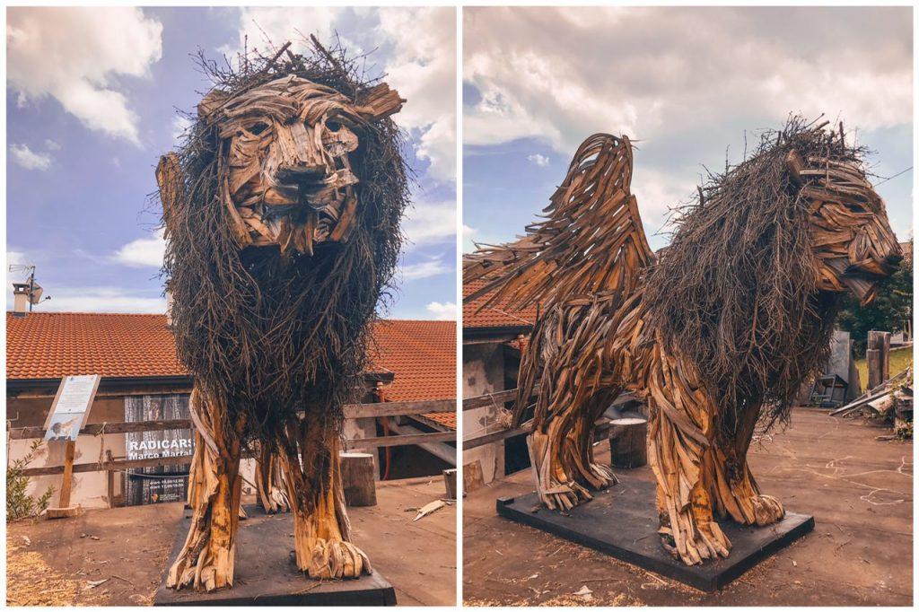 scultura leone alato in legno