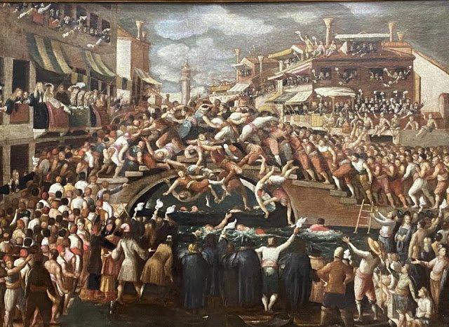 quadro rappresentante una battaglia a venezia