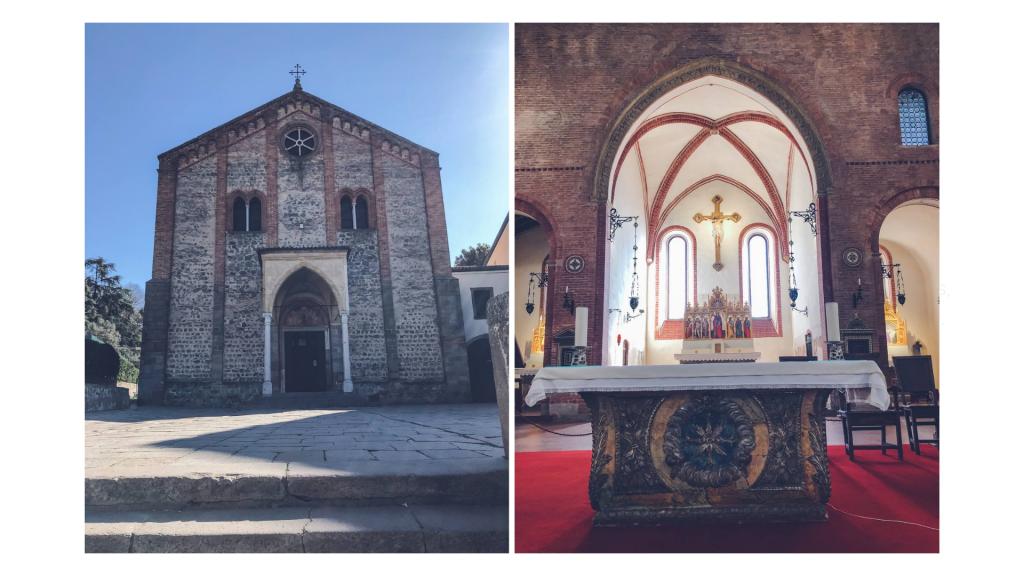 interno ed esterno chiesa pieve di santa giustina monselice