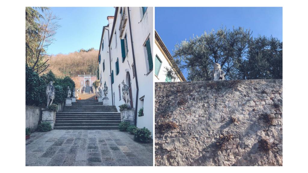 scalinata e muro di cinta con statue di villa nani mocenigo